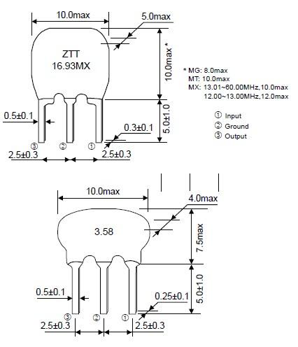 陶瓷晶振,ztt6.00mg,陶瓷谐振器