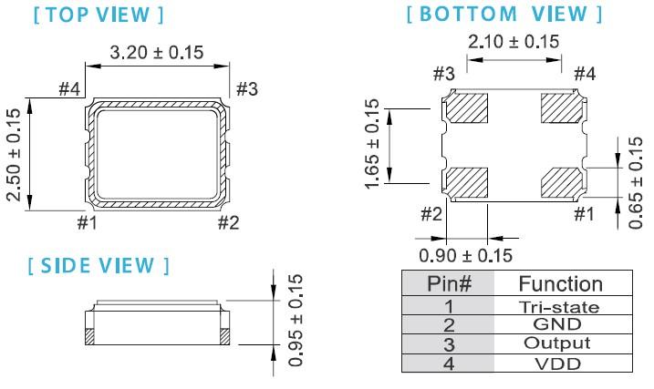 进口台湾品牌晶振,ox-3225普通有源晶振,taitien贴片晶振